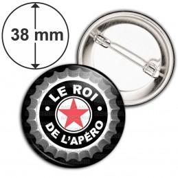 Badge 38mm Epingle Le Roi de l'Apéro - Capsule bière Noir Etoile Rouge