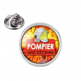 Pin's rond 2cm argenté Pompier Qui Déchire Rouge - Casque SP Fond Feu Flamme