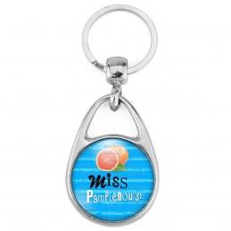 Porte Clés Métal 2 Faces Logo 3cm Miss Pamplemousse - Fruit pamplemousse sur fond bleu