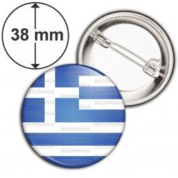 Badge 38mm Epingle Drapeau Grec Grèce Greece Flag Emblème Bleu Blanc