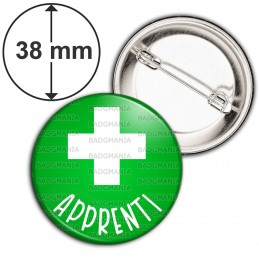 Badge 38mm Epingle Apprenti en Pharmacie Croix Fond Vert