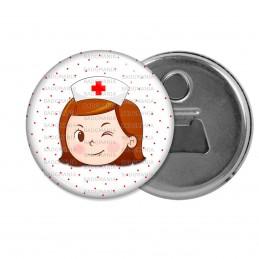 Décapsuleur 6cm Aimant Magnet Infirmière Tête Clin d'oeil Fond blanc points rouges