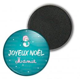 Magnet Aimant Frigo 3.8cm Joyeux Noël MAMIE - Bonhomme de neige Flocons Fond Bleu