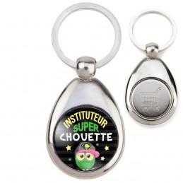 Porte-Clés Acier Goutte Jeton Caddie Instituteur Super Chouette - Fond Noir