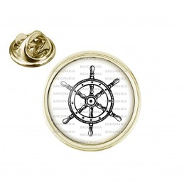 Pin's rond 2cm doré Barre à Roue Bateau - Symbole Marin