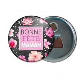 Décapsuleur 6cm Aimant Magnet Bonne Fête Maman - Fleurs roses sur noir