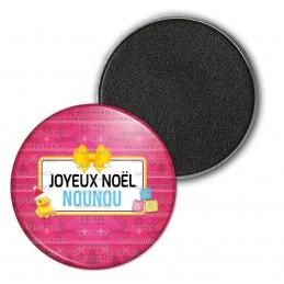 Magnet Aimant Frigo 3.8cm Joyeux Noël Nounou - Fond rouge canard Nœud