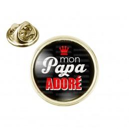 Pin's rond 2cm doré Mon Papa Adoré - Fond noir