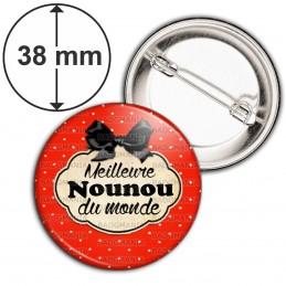 Badge 38mm Epingle Meilleure nounou du monde - Fond Rouge Nœud Papillon