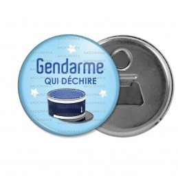 Décapsuleur 6cm Aimant Magnet Gendarme qui déchire - Couvre Chef Fond Bleu