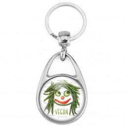 Porte Clés Métal 2 Faces Logo 3cm Vegan Tête Légumes Haricots