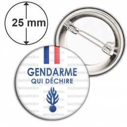 Badge 25mm Epingle Gendarme qui déchire - Bleu Blanc Rouge Flamme Bleu Fond Blanc