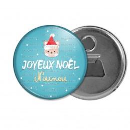 Décapsuleur 6cm Aimant Magnet Joyeux Noël Nounou - Ourson bonnet rouge fond bleu
