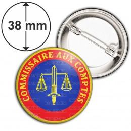 Badge 38mm Epingle Cocarde Commissaire Aux Comptes Bleu Rouge Glaive Balance