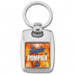 Porte Clés Rectangle Acier 2 Faces Super Pompier - Fond Feu Flamme Rouge Orange Etoiles