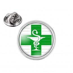 Pin's rond 2cm argenté Caducée Esculape Croix Verte Pharmacie