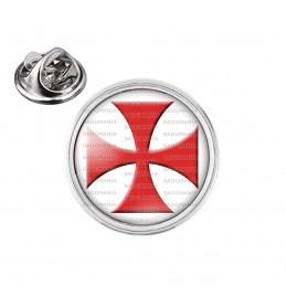 Pin's rond 2cm argenté Ordre du Temple Templier Croix Templière Rouge Fond Blanc