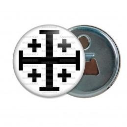 Décapsuleur 6cm Aimant Magnet Croix de Jérusalem Noire Fond Blanc Terre Sainte Catholique Nation