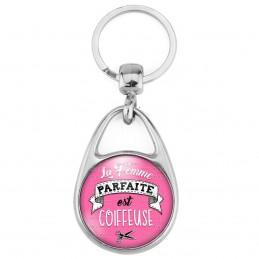 Porte Clés Métal 2 Faces Logo 3cm La Femme Parfaite est COIFFEUSE