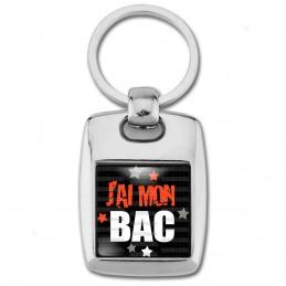 Porte Clés Rectangle Acier 2 Faces J'ai mon BAC - Etoiles Fond Noir