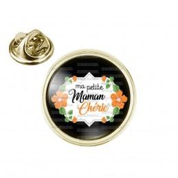 Pin's rond 2cm doré Ma petite maman chérie - Fleurs Orange Fond Noir