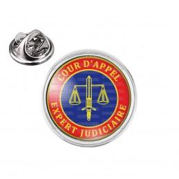 Pin's rond 2cm argenté Cocarde Bleu Rouge Expert Judiciaire Cours d'Appel Texte Or