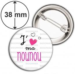 Badge 38mm Epingle J'aime ma nounou - Cœur Rouge Fond Blanc