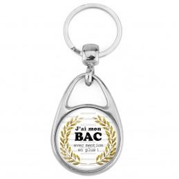 Porte Clés Métal 2 Faces Logo 3cm J'ai mon BAC avec mention en plus ! Palmes Or Fond Blanc - Diplôme Etude