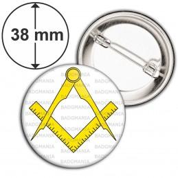 Badge 38mm Epingle Compas Equerre Francs-Maçons Symbole Maçonnique Jaune Fond Blanc