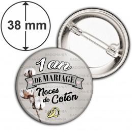 Badge 38mm Epingle 1 ans de Mariage Noces de Coton - Anneaux Anniversaire Mariage