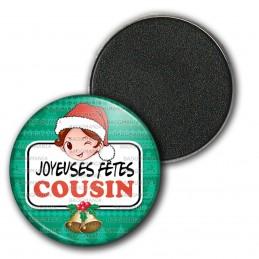Magnet Aimant Frigo 3.8cm Joyeuses Fêtes COUSIN Noël Gui Cloches