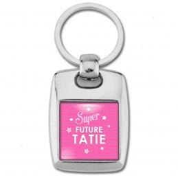 Porte Clés Rectangle Acier 2 Faces Super Future TATIE - Etoiles Fond Rose