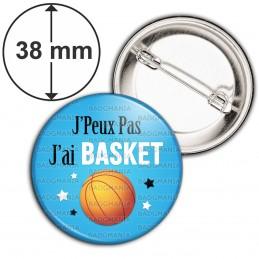 Badge 38mm Epingle J'Peux Pas J'ai BASKET