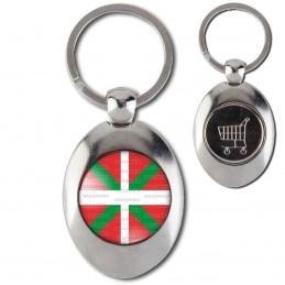 Porte-Clés Acier Ovale Jeton Caddie Drapeau Euskadi Basque Euskara Croix Symbole Pays Basque 64 Biarritz