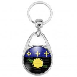 Porte Clés Métal 2 Faces Logo 3cm Drapeau Guadeloupe Gwada Emblème Soleil Canne à Sucre Fleur de lys