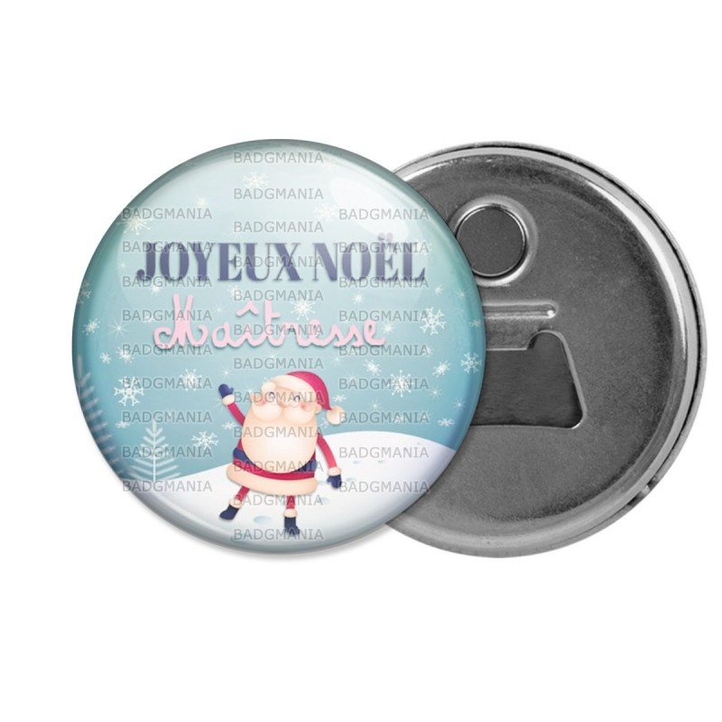 Décapsuleur 6cm Aimant Magnet Joyeux Noël Maîtresse - Boule de neige Père Noël