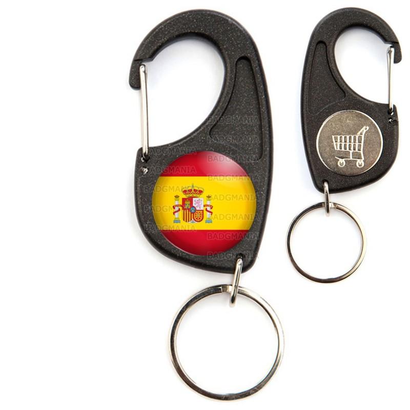 Porte-Clés Mousqueton Jeton Caddie Drapeau Espagne Espagnol Spain Flag Emblème