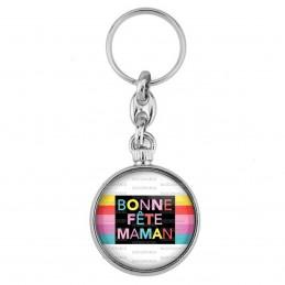 Porte-Clés forme Montre Antique 2 faces Bonne Fête Maman - Multicolore sur blanc