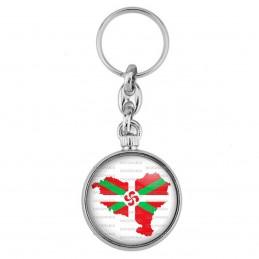 Porte-Clés forme Montre Antique 2 faces Carte Pays Basque Euskadi Euskara Croix Symbole 64 Biarritz