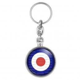 Porte-Clés forme Montre Antique 2 faces Cocarde Tricolore Bleu Blanc Rouge Royal Air Force