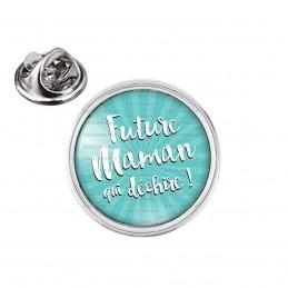Pin's rond 2cm argenté Future Maman qui Déchire - Fond bleu