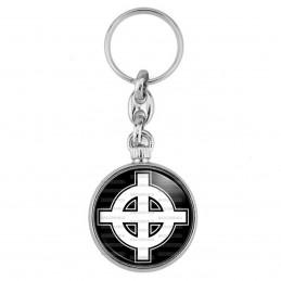 Porte-Clés forme Montre Antique 2 faces Croix Celte Celtique Blanche Fond Noir France Nation Patriote Celtique