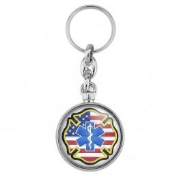 Porte-Clés forme Montre Antique 2 faces Croix de Vie Ambulancier Drapeau USA