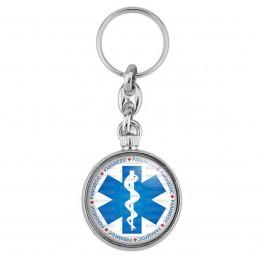Porte-Clés forme Montre Antique 2 faces Croix de Vie Paramedic Caducée Santé