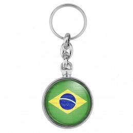 Porte-Clés forme Montre Antique 2 faces Drapeau Brésil Brésilien Brazil Flag