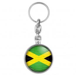 Porte-Clés forme Montre Antique 2 faces Drapeau Jamaïcain Jamaïque Croix de Saint André