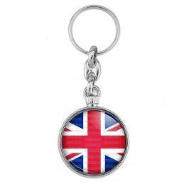 Porte-Clés forme Montre Antique 2 faces Drapeau Royaume-Uni Union Jack Flag Angleterre Anglais