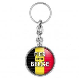 Porte-Clés forme Montre Antique 2 faces Fièr d'Etre Belge Drapeau Belge