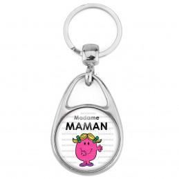 Porte Clés Métal 2 Faces Logo 3cm Madame MAMAM Patate - Blanc