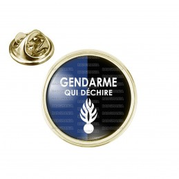 Pin's rond 2cm doré Gendarme qui déchire - Fond Bleu Noir